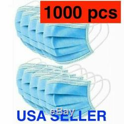1000 PCS Face Mask Medical Surgical Dental Disposable 3-Ply Earloop Mouth Cover