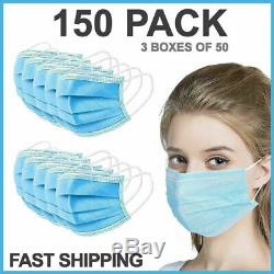 150 PCS Face Mask Medical Surgical Dental Disposable 3-Ply Earloop Mouth Cover
