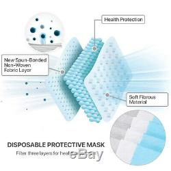 200 Pcs 3-Ply Disposable Face Mask Medical Surgical Dental Earloop Mouth Cover