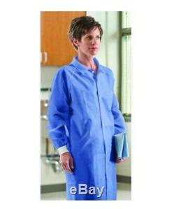 25 Blue Isolation Lab Gown Knitt Cuffs Medical Dental Hospital Disposable New MD