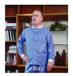 25 Blue Professional Lab Jacket Knitt Cuff Medical Dental Hospital Disposable XL