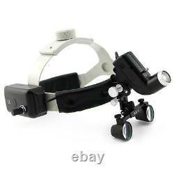 2.5X450mm Dental Loupes Headlight Headband Surgical Binocular Glasses Medical US