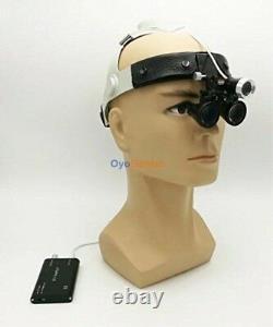 3.5X Dental Medical Surgical Binocular Loupes Leather Headband + LED Headlight