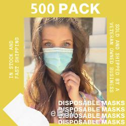 500 PCS Face Mask Medical Surgical Dental Disposable 3-Ply Earloop Mouth Cover