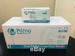 500 Pc / 10 boxes Blue Primo Medical Dental surgical ear loop mask ASTM Level 1