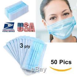 50 PCS Disposable Face Mask Medical Surgical Dental Earloop Anti-Dust Dirt Blue