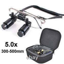 5.0X 300-500mm Dental Loupes Surgical Medical Binocular Magnifier Glasses + Case