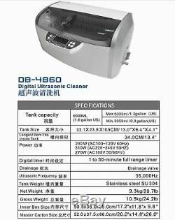 6L Dental Medical Digital Ultrasonic Cleaner DB-4860 with Timer & Cooling Fan