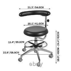 Dental Assistant Stool Rotation Medical Chair Armrest PU Waist Support Height