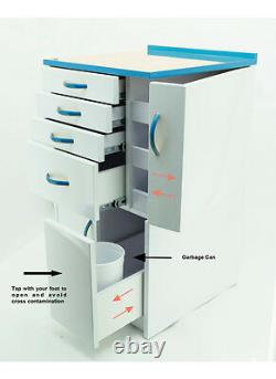 Dental Medical Mobile Cabinet Cart Multifunctional Drawers Wheels Sky Blue Small