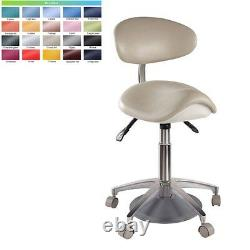 Dental Medical Mobile Saddle Chair Foot Controlled Doctors' Stool PU Leather New