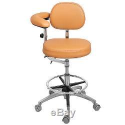 Dental Stool Medical Assistant Nurse Chair WithArmrest Adjustable PU Leather Khaki