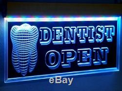 H003 Animated Dentist LED Open Sign Dental Clinic Medical Shop Teeth Neon Light