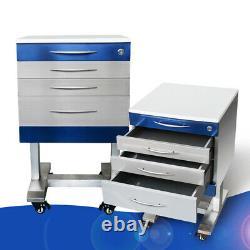 Hospital Medical Dental Assistant's Portable Mobile Cabinet Cart 3 Drawer 2 Tray