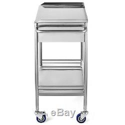 Hospital Medical Dental Lab Trolley Cart One Drawer 2 Layers Stainless Steel BMG