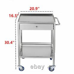 Hospital Stainless Steel Two Layer Serving Medical Cart Dental Lab Trolley+Wheel
