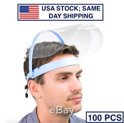 Safety Face Shield Visor 100 PACK MEDICAL DENTAL GRADE Anti-Fog Adjustable