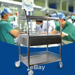 Stainless Steel Three Layers Serving Medical Hospital Dental Lab Cart Trolley US