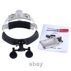 UK 3.5X Dental Surgical Headband Leather Medical LED Binocular Loupes Headlight