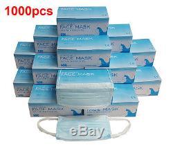 1000 Pièces À Usage Unique 3 Plis Earloop Anti-poussière Visage Masque Médical Dentaire Santé Nail