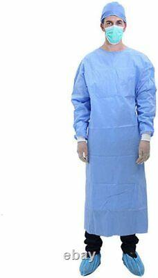 100pcs Jetable Bleu Pp+pe Isolation Gown Avec Tricot Cuff Epi Médical Dentaire