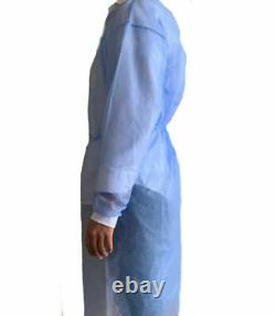 10 Robe D'isolement Dentaire Médicale Bleue Avec Le Paquet Tricoté De Robes De Manchette De 10 Pcs
