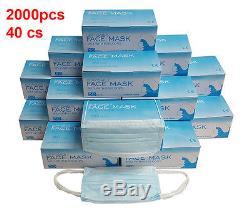 2000 Pcs Jetable 3 Plis Earloop Anti-poussière Visage Masque Médical Dentaire Santé Nail