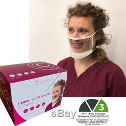 24 Pcs Visage Clair Masque Réglable Medical Astm Chirurgical Niveau 3 Dentaire Bouche États-unis