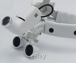 2.5x Bandeau Médico-chirurgical Dentaire Loupes Avec 5w Led Head Light Dy-105 Blanc