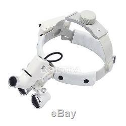 3.5x Chirurgie Dentaire Bandeau Led Médicale Binoculaires Loupes Dy-106 Blanc