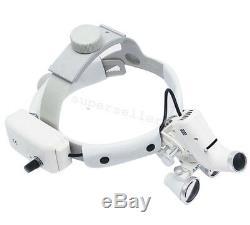 3.5x Dentaire Bandeau Binocular Médicale Loupes Loupe Led Phares Ajustable