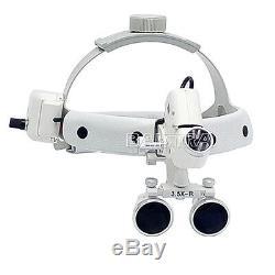 3.5x-r 5w Led Dentaire Médico-chirurgical Bandeau Loupe Avec La Lumière Dy-106 Blanc