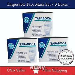 3 Boîte / 150 Pcs À Usage Unique Masque Facial 3-ply Oreille Boucle Chirurgicale Dentaire Médicale