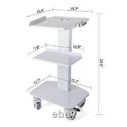 3 Niveaux Medical Trolley Steel Mobile Cart Lab Dental Spa Salo Équipement 2castors