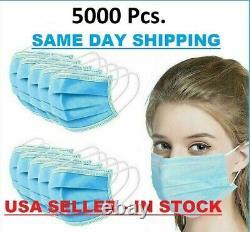 5000 Pcs Masque Facial Non Médical Chirurgical Dentaire Jetable 3-ply Boucle D'oreille Couverture