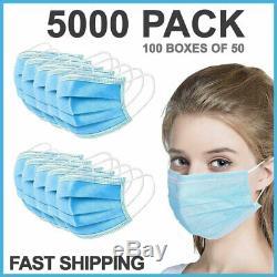 5000 Pcs Visage Masque Chirurgical Médical Jetable Dentaire Bouche 3-ply Couverture Lot