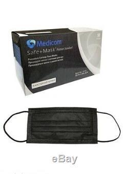 Boîte De 50pcs Jetable Black Oreille Médicale Chirurgicale Dentaire Boucle Masque Facial Medicom