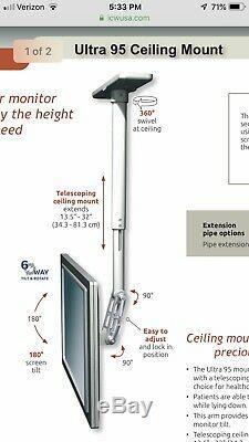 Bureau Médical / Dentaire Icw Ultra 95 Ceiling Mount Tv Moniteur Noir