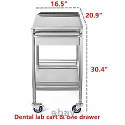 Clinique Hospitalière Dental Lab Chariot Médical Chariot Deux Couches Avec Un Chariots À Tiroirs