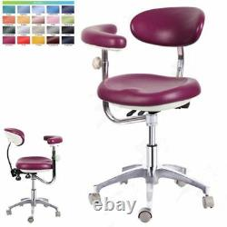 Dental Medical Pu Leather Doctor Nurse Dentist Mobile Chair Stools With Back+arm