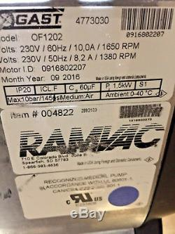 Gast Ramvac Of1202 Dental Ez Électrique Compresseur D'air, 230v Médical / Pompe Dentaire