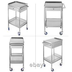 Hôpital Acier Inoxydable Deux Couches Servant Chariot Médical Chariot Dentaire Trolley +wheel