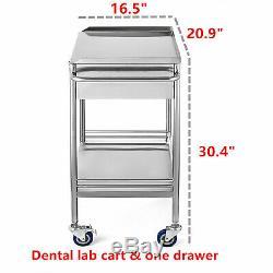 Hôpital / Clinique Dentaire De Laboratoire Médical Panier Chariot En Acier Inoxydable Deux Couches Tiroir