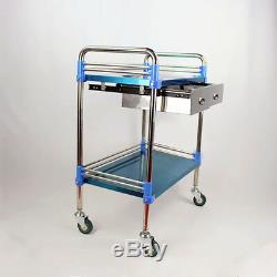 Hôpital Clinique Dentaire En Acier Inoxydable Médical Panier Chariot Deux Couches Tiroir Fs