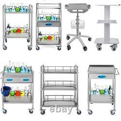 Hôpital Médical Panier Trois Couches Inoxydable En Acier Au Service Des Laboratoires Dentaires Chariot Fb