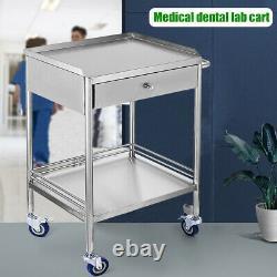 Hospital Acier Inoxydable Deux Couches Au Service Du Panier Médical Dental Lab Trolley Nouveau