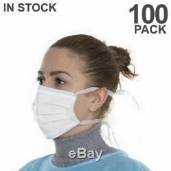 Jetable Masque 100 Pcs Chirurgical Médical Dentaire 3-ply Oreille Masques Boucle Blanc