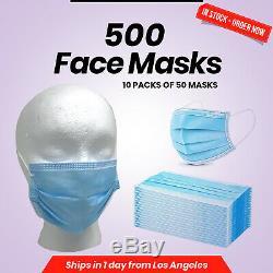 Jetable Masque Chirurgical Dentaire Médical Bleu 3-ply Bouche Nez 500 Paquet Lot