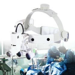 Magnificateur De Bandeau Dentaire 3.5x Binoculaire Chirurgical Médical Loupes + Phare Led