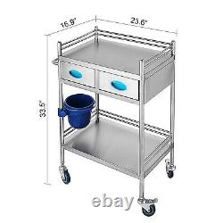 Medical Cart Hospital Stainless Steel Three Layers Serving Dental Lab Trolley Gt
